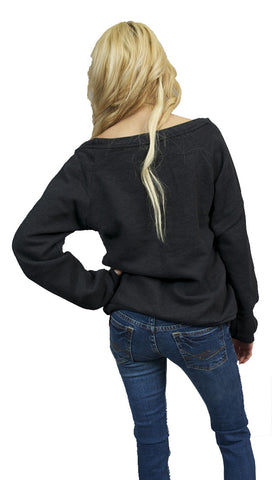 Local Celebrity Womens La Dolce Vita Candy Lollipop Boatneck Long Sleeve Fleece Sweatshirt in VIntage Black