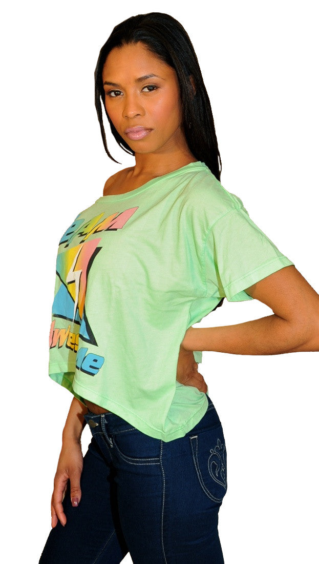 Local Celebrity Womens Team Awesome Oversized Box Crop Tee Shirt in Mint Green