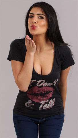 Local Celebrity Don't Kiss & Tell Scoop Neck Tee in Black