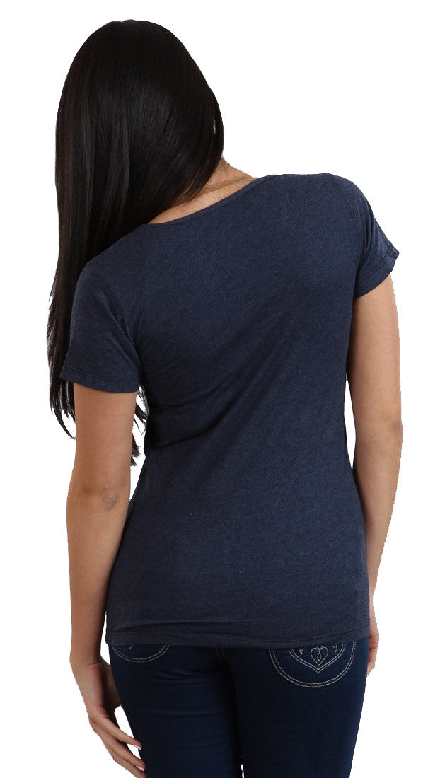 Local Celebrity Arm Candy Scoop Neck Tee in Navy