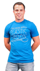 Local Celebrity Mens Born With A Plastic Spoon Tee Shirt in Royal Blue