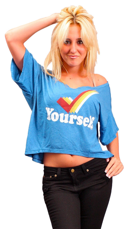 Local Celebrity Womens Check Yourself Oversized Box Crop Tee in Royal Blue
