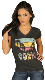 Local Celebrity Beverly Hills 90210 Graphic V Neck Short Sleeve Tee Shirt Charcoal Grey
