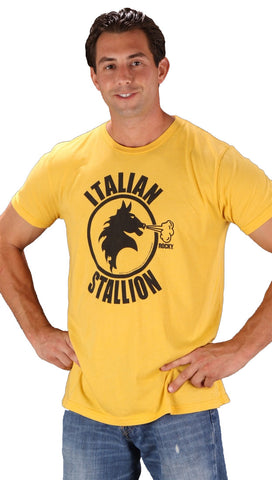 Local Celebrity Mens Italian Stallion Crew Neck Tee Shirt Yellow