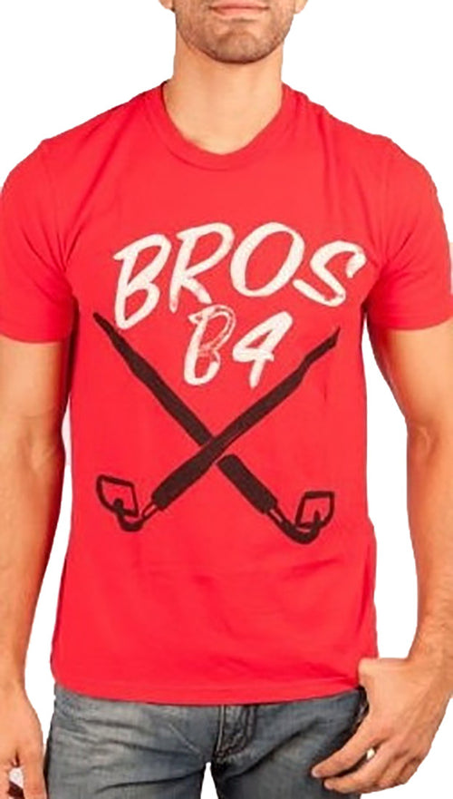 Local Celebrity Mens Bros B4 Hoes Crew Neck Tee Shirt Red