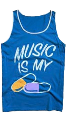 Local Celebrity Mens Music is My Drug Tank Top Shirt in Royal Blue
