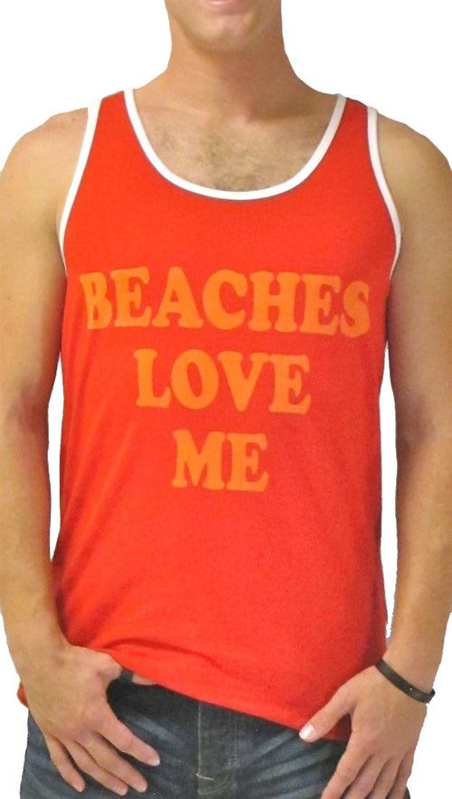 Local Celebrity Mens Beaches Love Me Tank Top Shirt in Red