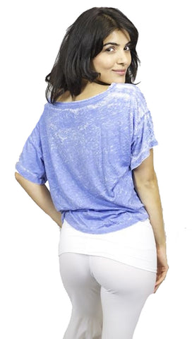 Local Celebrity Womens Love Is My Drug Oversized Crop Top Shirt in Sea Blue