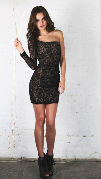Lover + Friends Lovesick Dress in Black Lace Nude