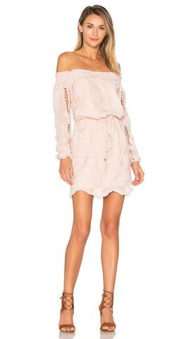Lovers + Friends Kory Off Shoulder Dress Nude Blush