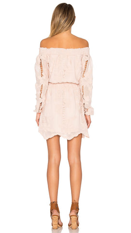 Lovers + Friends Kory Off Shoulder Summer Dress Nude