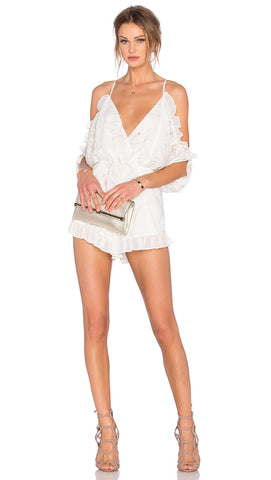 Lovers + Friends Malia Cold Shoulder Ruffle Leaf Romper Ivory White