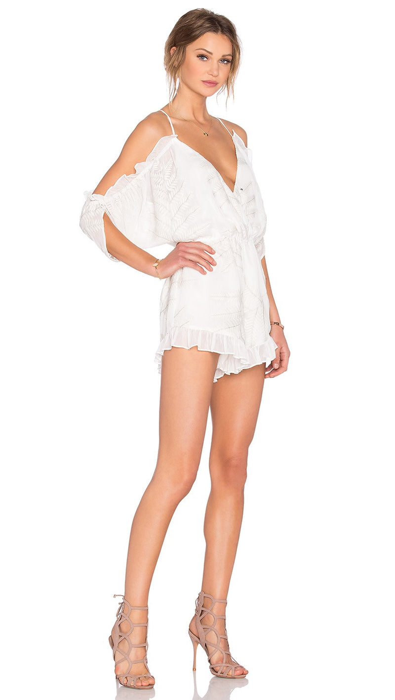 Lovers + Friends Malia Ruffle Cut Out Shorts Romper