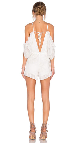 Lovers + Friends Malia Ruffle Romper White Ivory