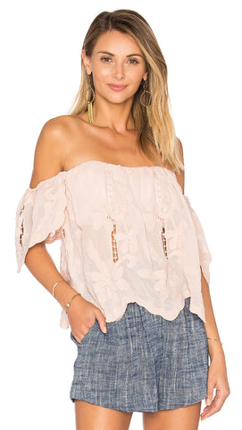 Life's A Beach Top Nude Off Shoulder Draped Sleeves from Lovers + Friends