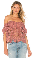 Lovers + Friends Lifes A Beach Top Mauve Off Shoulder Lace