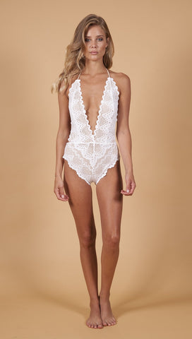 Nightcap Lima One Piece V Plunge Swim White Lace Open Back | ShopAA