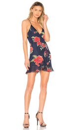 Lovers + Friends Gigi Wrap Mini Ruffle Dress Navy Blue Floral ShopAA