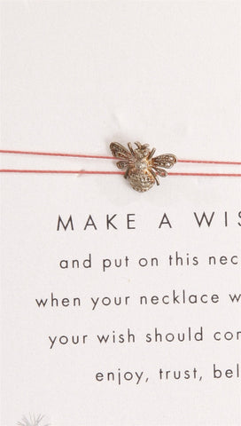Make A Wish Bumble Bee Necklace in Silver