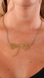 Make a Wish Gold Dragonfly Plate Necklace