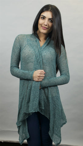 Michael Lauren Issac Long Sleeved Cardigan in Topaz Green