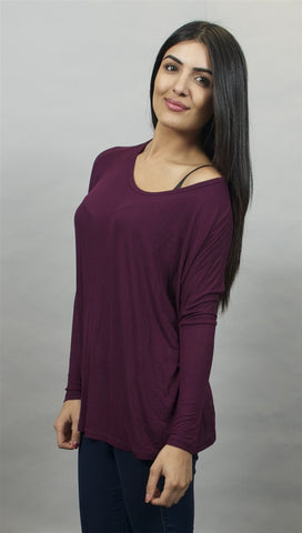 Michael Lauren Hunter Long Sleeved Draped Tee in Eggplant