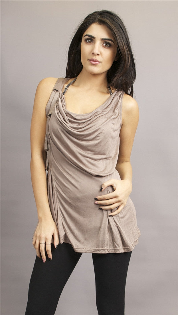 Miilla Sleeveless Over-Top Shawl Draped Open Top in Brown