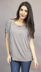 Miilla Round Neck Drape Tee in Grey