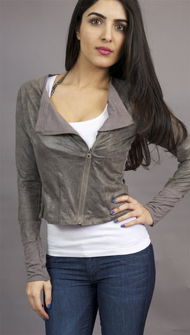 Miilla Faux Leather Crop Shirt Jacket in Grey