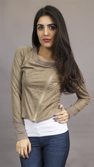 Miilla Faux Leather Crop Shirt Jacket in Taupe