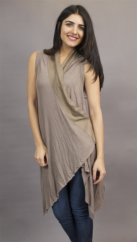 Miilla Shawl Drape 2-Button Dress Vest