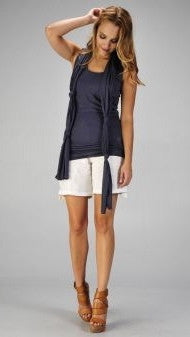 Miilla Double Layered Tank With Knotted Scarf in Blue