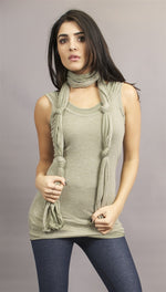 Miilla Double Layered Tank With Knotted Scarf in Olive Green