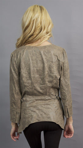Miilla Faux Leather Zipper Jacket in Taupe