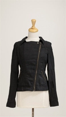 Miilla Off Center Linen Jacket in Black