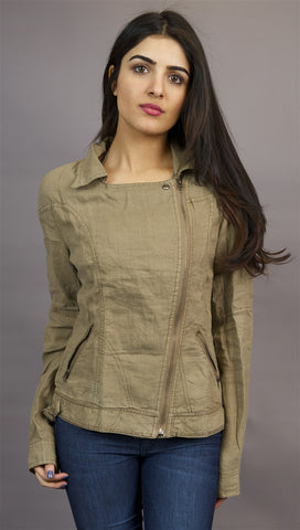 Miilla Off Center Linen Jacket in Khaki