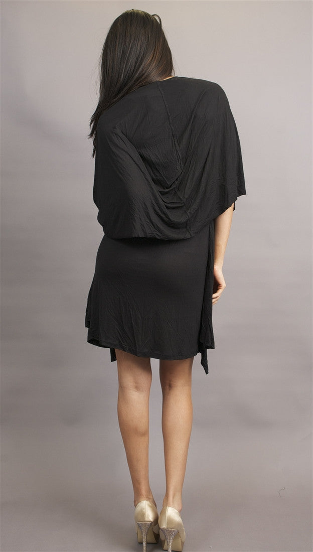 Miilla Knit Dress with Drape Panel in Black