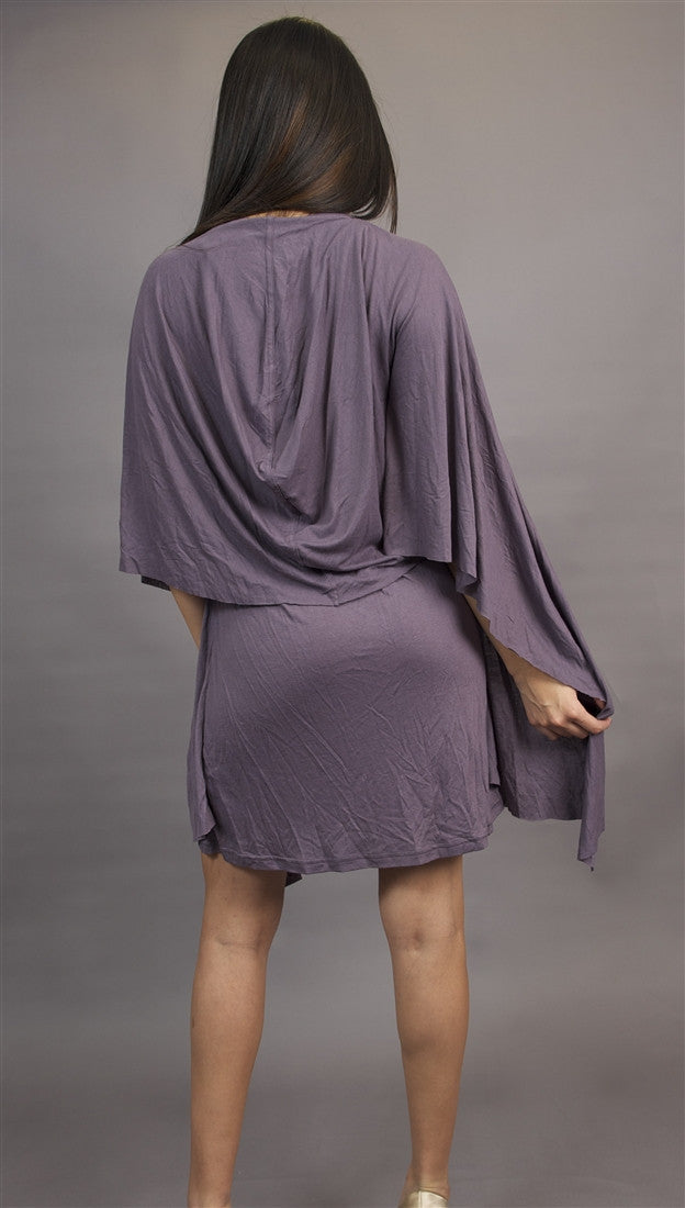Miilla Knit Dress with Drape Panel in Purple