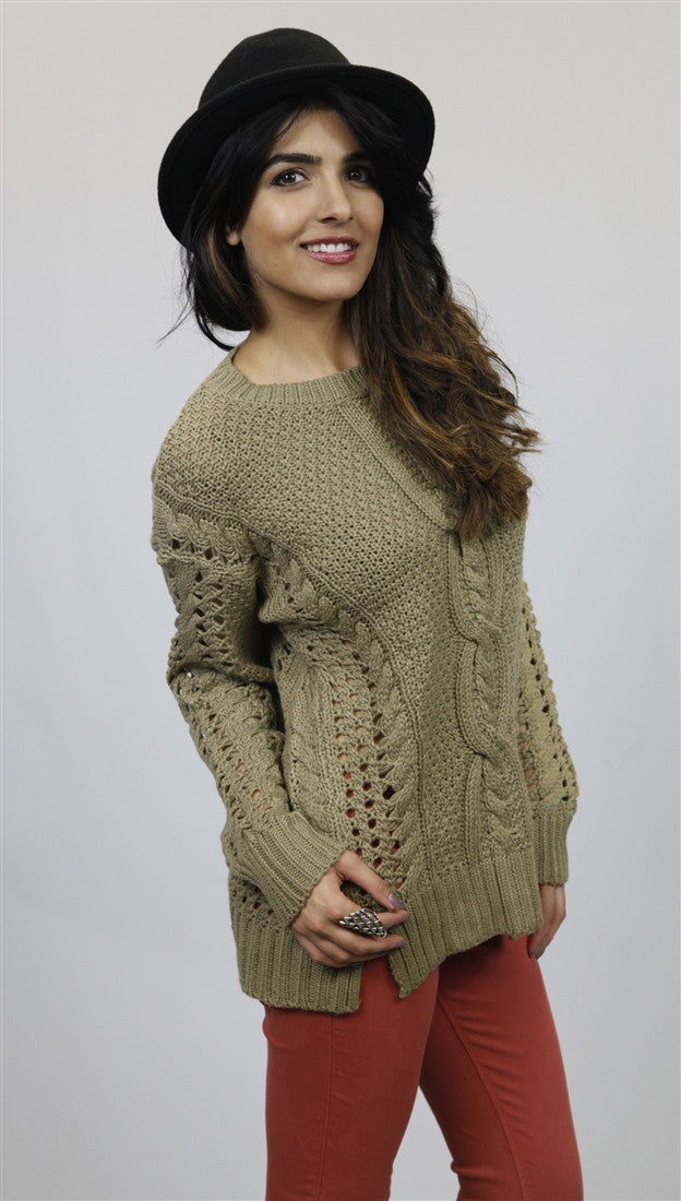 MM Couture Open Knit Cropped Sweater in Taupe