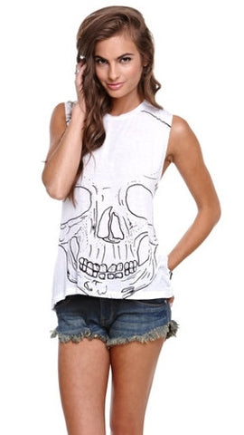 Morning Warrior Big Skull Twist Back Moto Tank