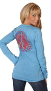 Mynx Burnout Rhinestone Rainbow Rose Peace Sign Tee Shirt Blue