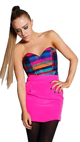 Naven Silk Rainbow Plaid Corset Strapless Top