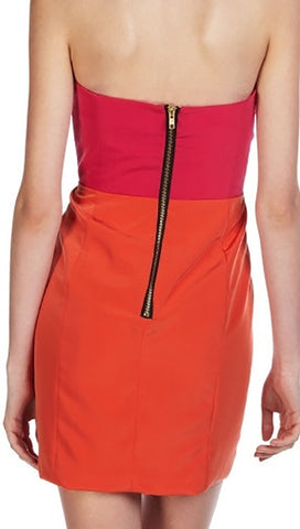 Naven Two Tone Bombshell Dress in Hot Pink Orange
