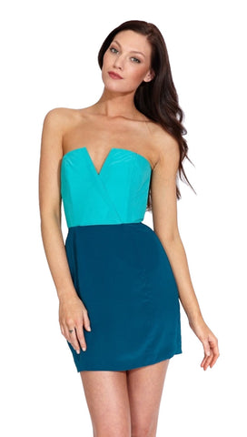 Naven Two Tone Bombshell Strapless Mini V Neck Sweetheart Silk Dress in Turquoise Green