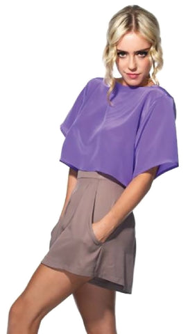 Naven Twisted Open Tie Back Oversized Silk Crop Top Violet Purple