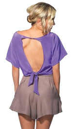 Naven Twisted Open Tie Back Oversized Silk Crop Top Violet
