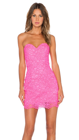 NBD X Naven Twinse I Gotta Feeling Bodycon Dress Pink Lace