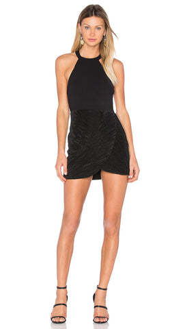 NBD Evelyn Dress Black Open T Back Textured Flute Pleat Trim Skirt Mini