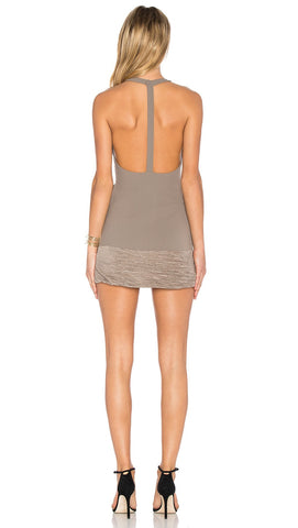 NBD Evelyn Dress Champagne Open T Back Textured Skirt Mini Taupe