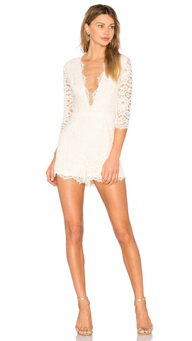 NBD Warren Romper Ivory Lace Deep V Long Sleeve Plunge White